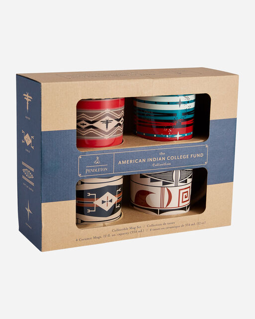 AMERICAN INDIAN COLLEGE FUND MUGS, SET OF 4 IN MULTI SHOWN IN BOX