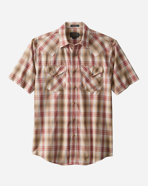 MEN'S SHORT-SLEEVE FRONTIER SHIRT, RED/TAN PLAID, large