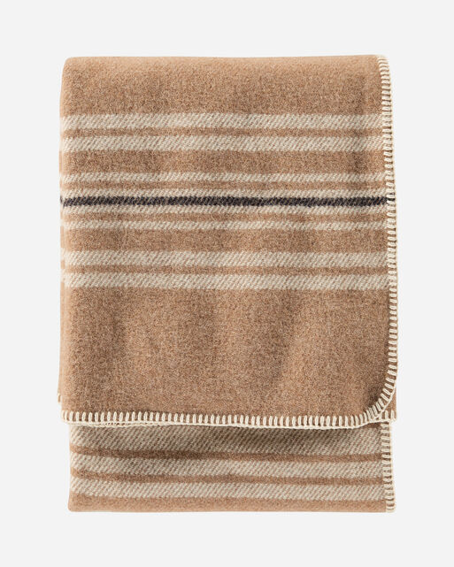 ECO-WISE WOOL THROW IN CAMEL IRVING STRIPE
