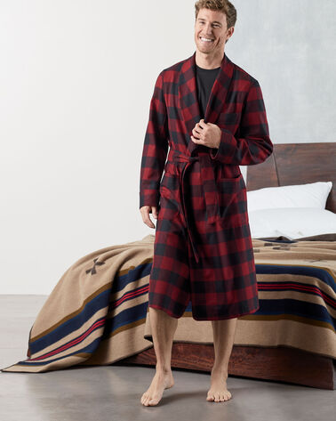 ADDITIONAL VIEW OF MEN'S WASHABLE WHISPERWOOL ROBE IN BLACK/BURGUNDY BUFFALO