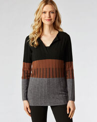 COLORBLOCK PULLOVER TUNIC, BROWN/BLACK MULTI, large