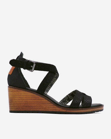 WOMEN'S BAYLANDS STRAPPY WEDGES IN BLACK