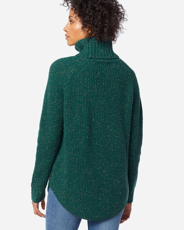 WOMEN'S DONEGAL COWL NECK SWEATER, SPRUCE TWEED, large