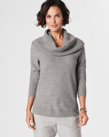 TEXTURED DRAPE NECK PULLOVER, SOFT GREY HEATHER, large