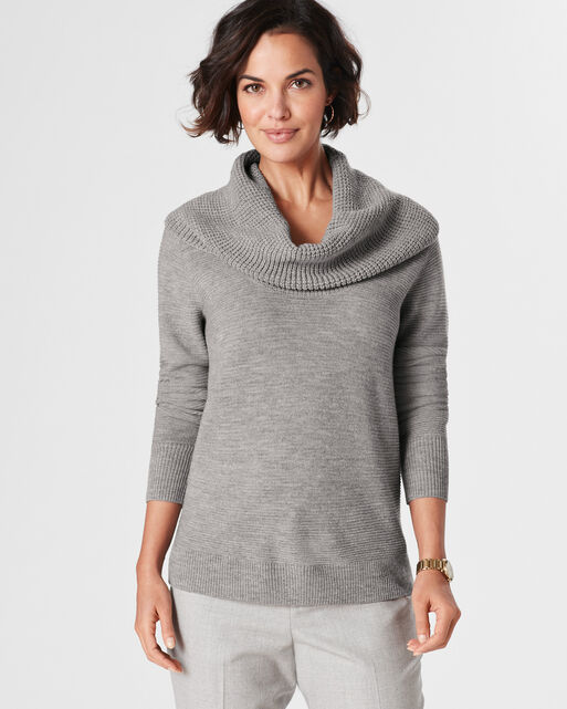 TEXTURED DRAPE NECK PULLOVER, , large