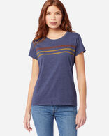 WOMEN'S STRIPED GRAPHIC TEE IN NAVY HEATHER
