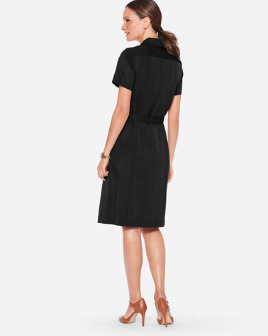 ADDITIONAL VIEW OF SEASONLESS WOOL LONGLINE DRESS IN BLACK