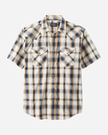 MEN'S SHORT-SLEEVE FRONTIER SHIRT IN IVORY/NAVY PLAID