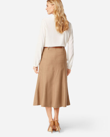 ADDITIONAL VIEW OF SHELBY AIRLOOM WOOL FLANNEL BOOT SKIRT IN CAMEL MIX