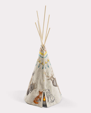 LARGE TEEPEE WITH VOTIVE, LINEN, large