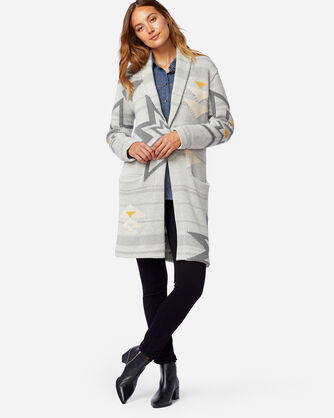 WOMEN'S SWEATER COAT IN GREY PLAINS STAR
