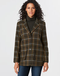 BOYFRIEND JACKET, GREEN MIX/BLACK PLAID, large