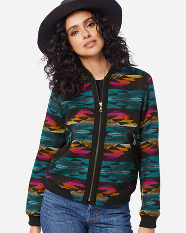 WOMEN'S PACIFIC WOOL BOMBER JACKET, CACTUS BLOOM CHARCOAL, large