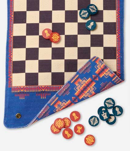 Pendleton checkers/chess board with playing pieces