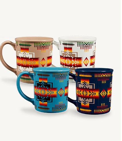 Four multi-color mugs in the Chief Joseph pattern