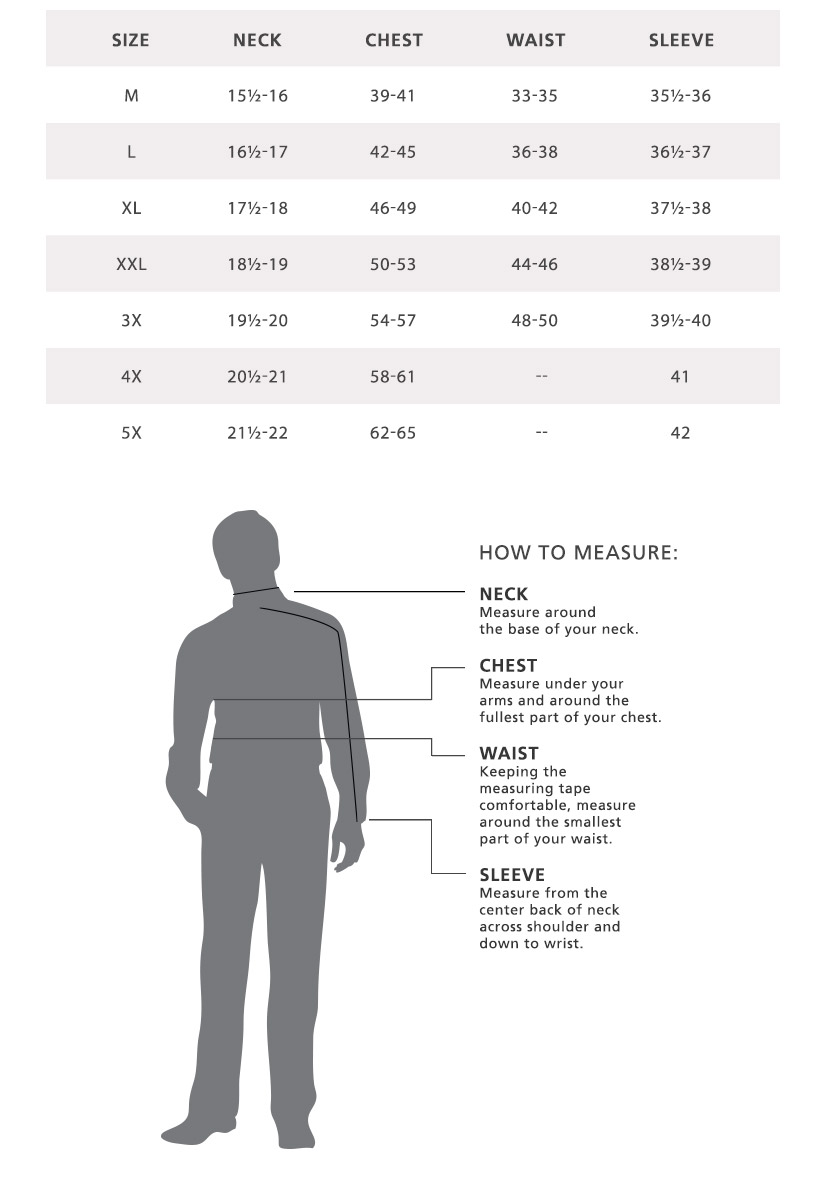 Mens shirt size chart pendleton