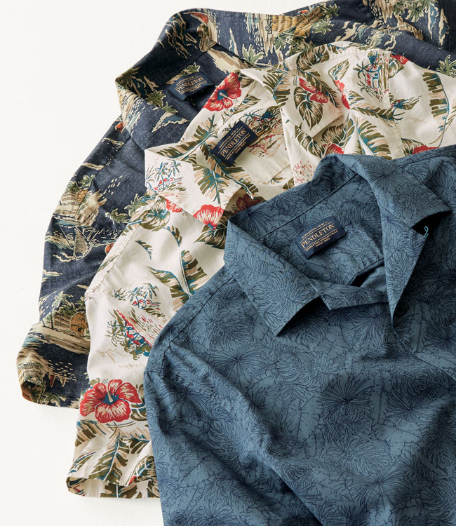 New men's linen button-down shirts in tropical prints