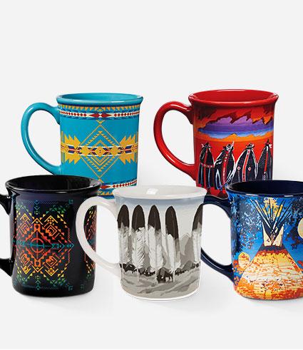Six Pendleton mugs