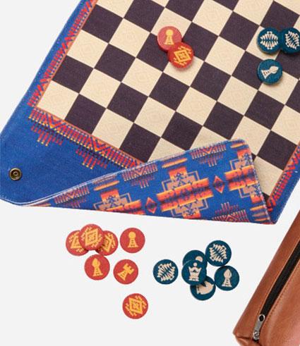 Blue Pendleton backgammon board