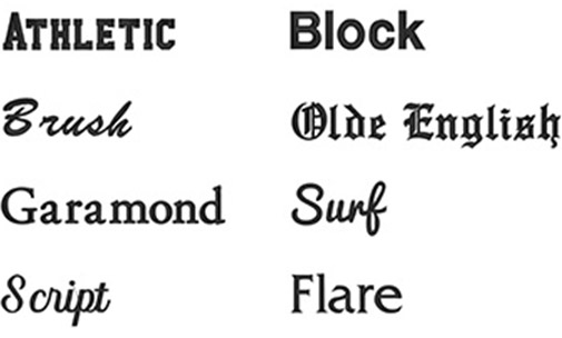 Available Font Choices for Embroidery