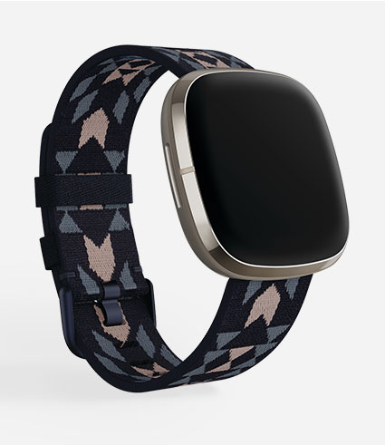 New Pendleton for Fitbit Basketmaker woven band shown on a gold Sense device.