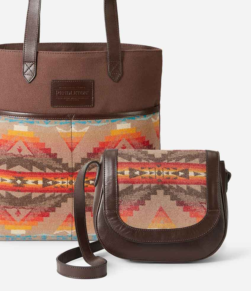 Tan colored Sierra Ridge Tote and Saddle Bags