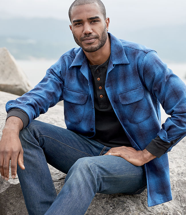 Model wearing men's blue plaid Board Shirt