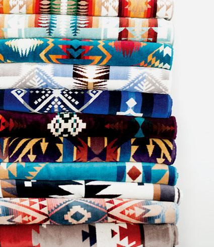 Stack of Pendleton beach towels