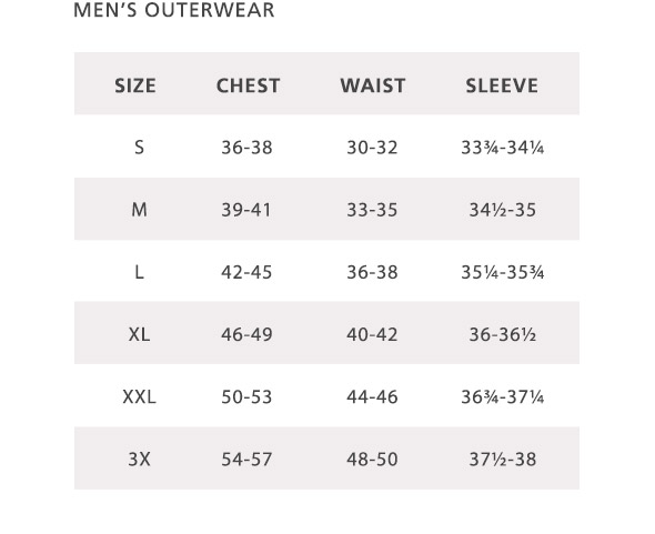 Mens Outerwear Size Chart | Pendleton