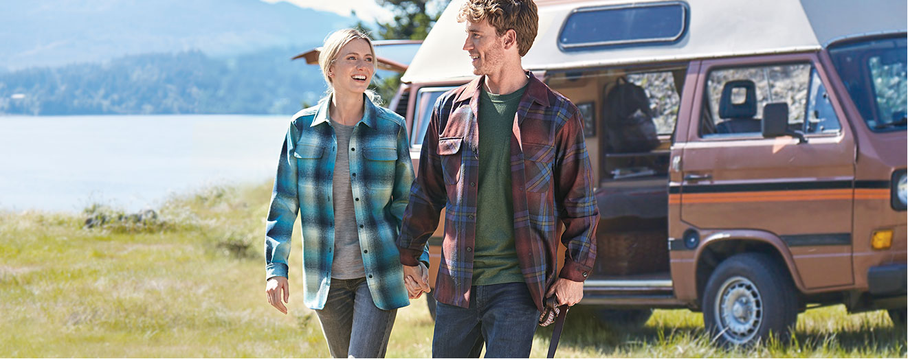 Woman and Man in Pendleton Board Shirts