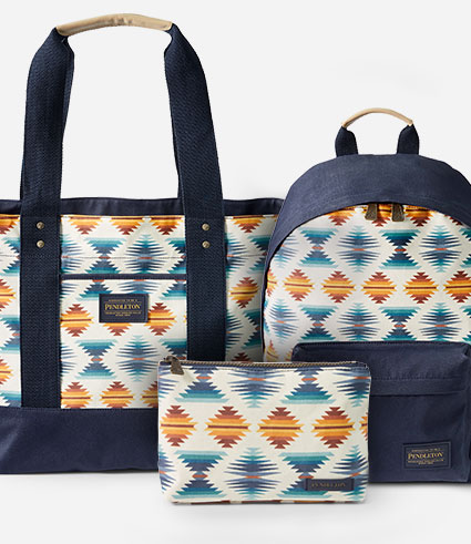 Coated canvas bags and totes in Pendleton's Falcon Cove pattern