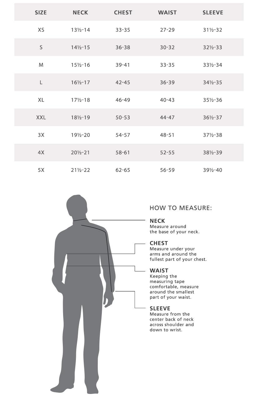 2cfa136c3f213 Mens Shirt Size Chart