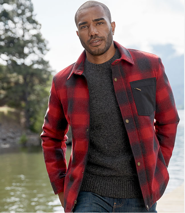 Man outdoors in Conway Accent Pocket Shirt Jac in red