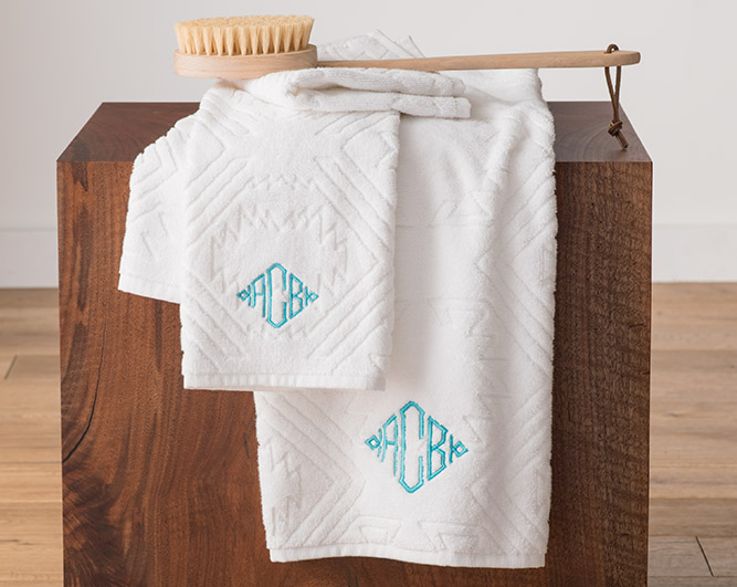 Bath and Hand Towels Showing Monogram Examples