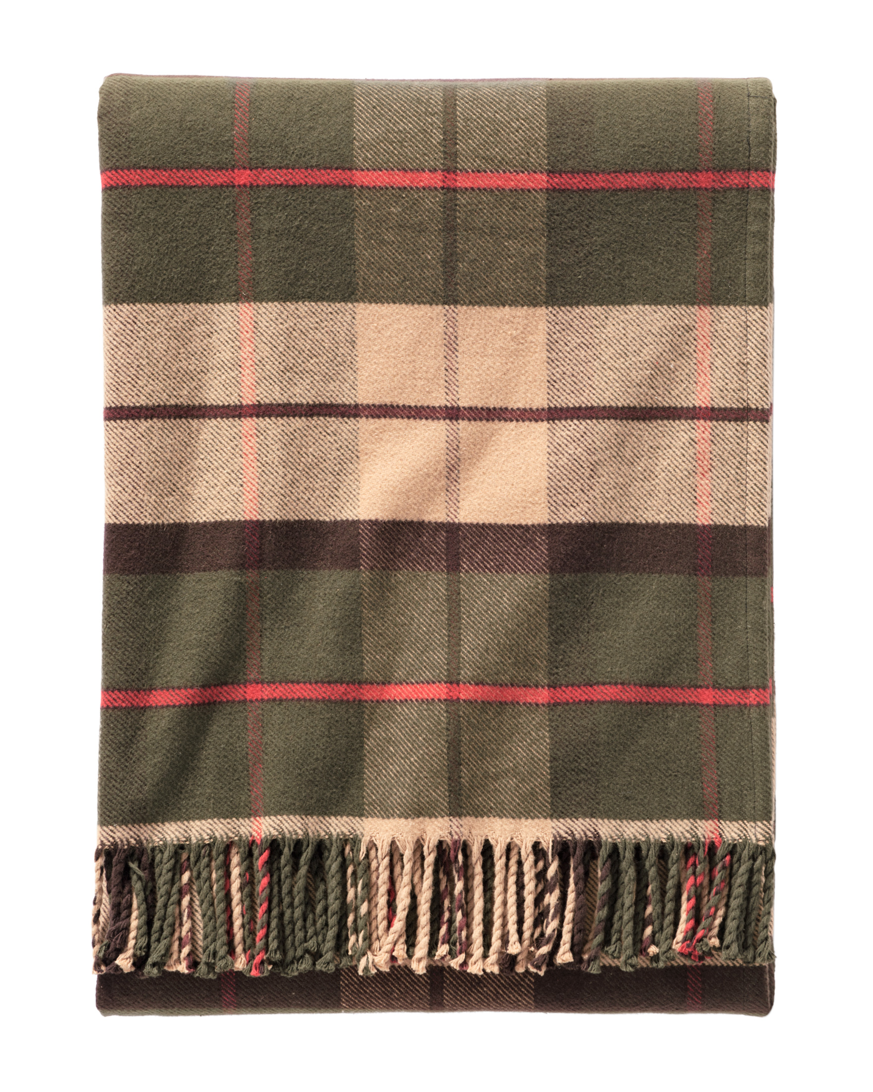 COTTON PLAID THROW, OLIVE, large