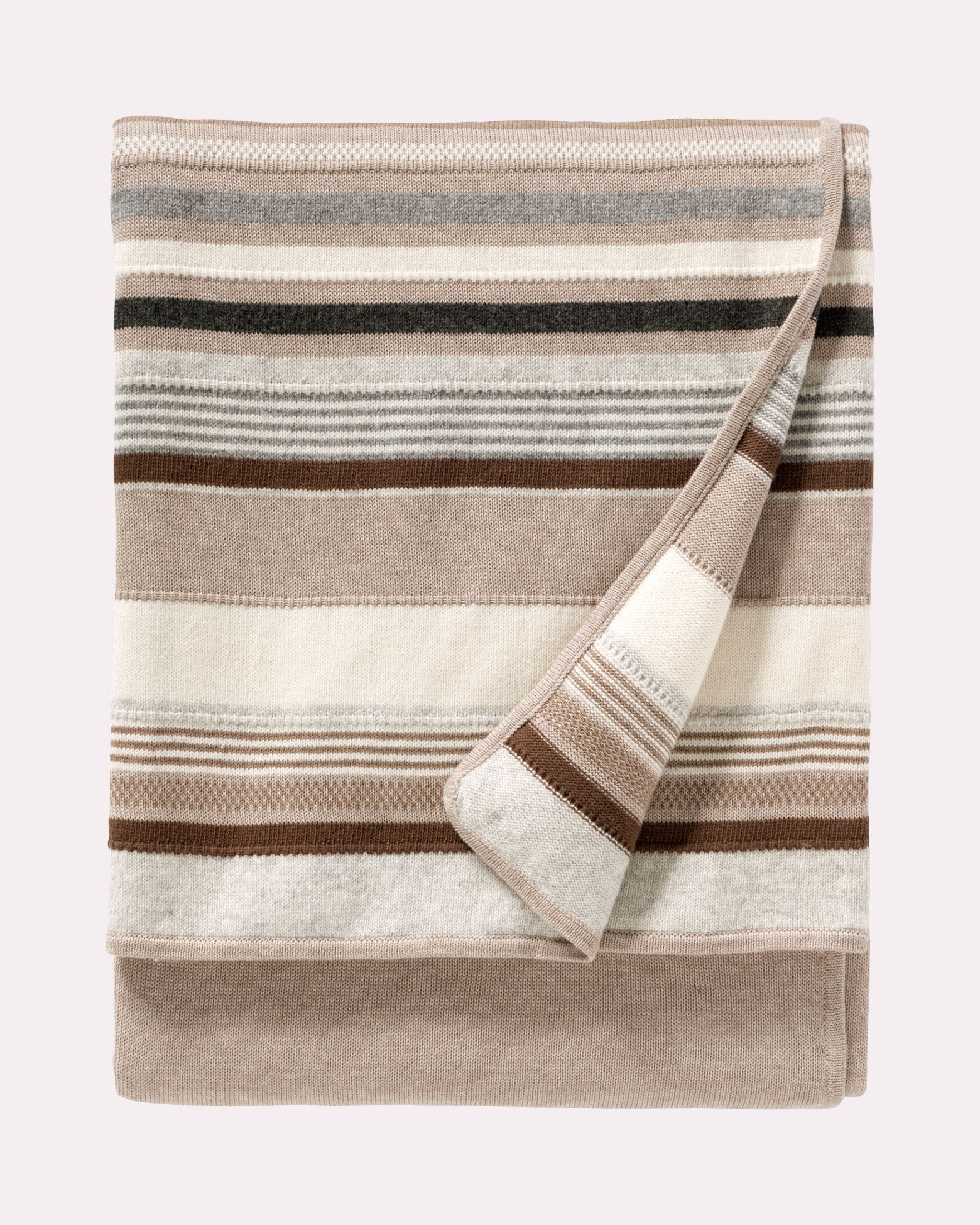 CHIMAYO KNIT THROW, BEIGE MULTI, large