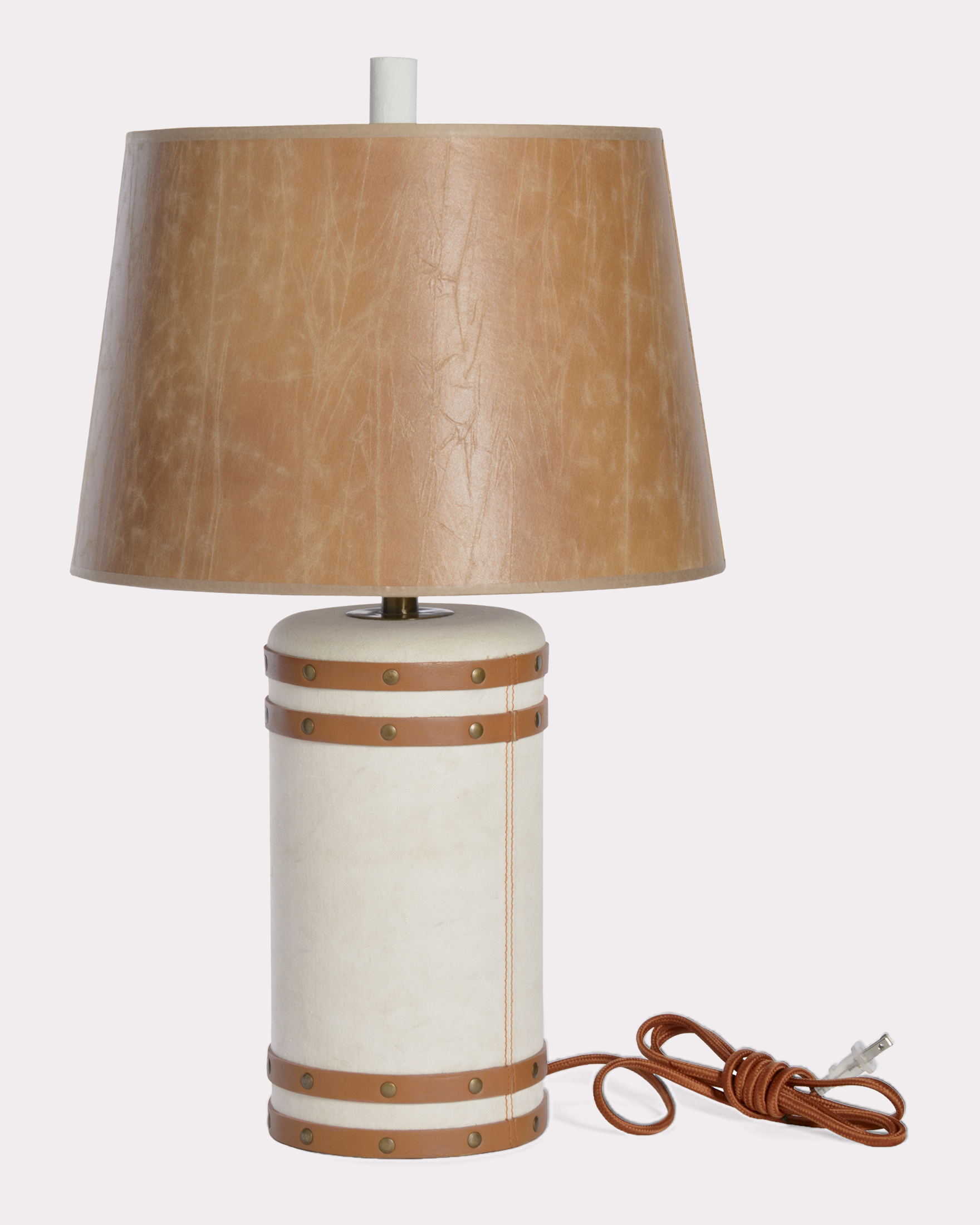 BARREL LAMP, BUFF CANVAS, large