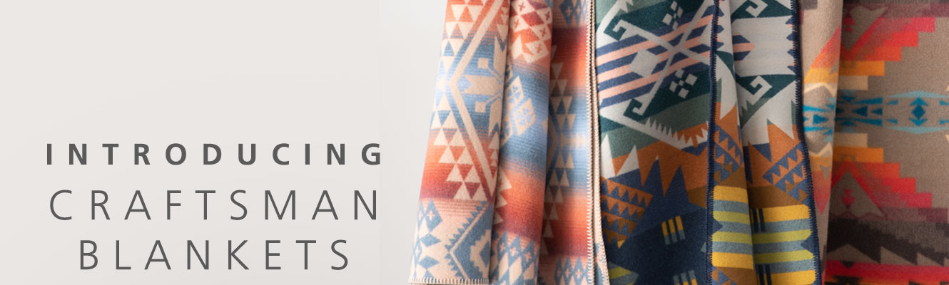 Introducing Craftsman Blankets: three folded blankets in bright, geometric heritage patterns